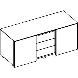 Multicontainer SOLUS, 2 Schiebetüren, 3 Schübe, H 583 x B 1350 x T 523 mm