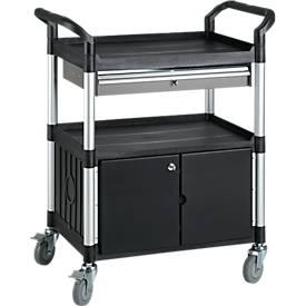 Multifunctionele etagewagen met 1 schuiflade en 1 kast, zwart