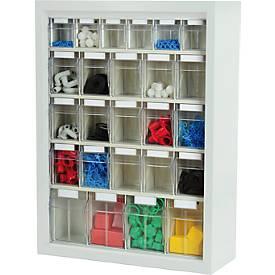 MultiStore Magazin-Wandhängeschränke, 665 x 250 x 900 mm, 25 Behälter (B), lichtgrau