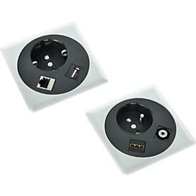 Netbox Point, Steckplätze für Strom LAN-Kabel und USB