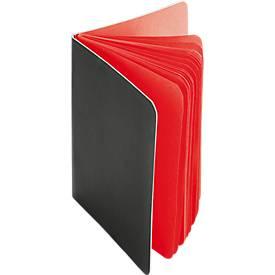 Notizblock, 30 farbige Seiten, schwarzer Pappeinband, rot