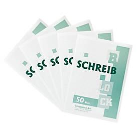 Notizblock, Recycling-Papier, DIN A4, 50 Blatt, 5 Stück