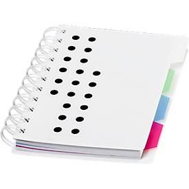 Notizbuch Bucef, 116 Seiten, spiralgebunden, farbliche Register und Kunststoffhülle