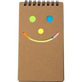 Notizbuch Happy Face, Karton, liniert, 40 Blatt, mit Haftnotizen