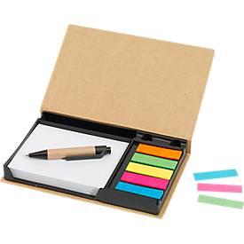 Notizzettel Box Drawer, 120 Bl., Büroklammern, Haftnotizen & Kugelschreiber, Tampondruck 50 x 20 mm