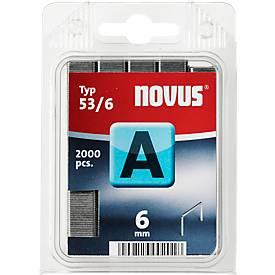 Novus Heftklammern Typ A, wahlweise Länge 6 oder 8 mm, Stahldraht, 2000 Stück