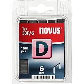 Novus Heftklammern Typ D, wahlweise Länge 6 oder 8 mm, Stahldraht, 1200 Stück