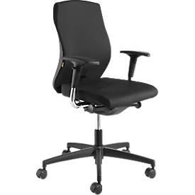 NowyStyl Bürostuhl NOW 1, Synchronmechanik, ohne Armlehnen, ergonomische Rückenlehne, Muldensitz, schwarz/schwarz