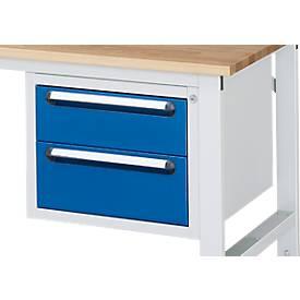 Onderbouw lade voor werktafel, 2 laden met  hoogte 150 mm en 180 mm, licht grijs/gentiaanblauw