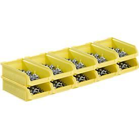 Open opbergbakken van de serie LF210 SSI Schäfer, stapelbaar, 0,5 l, 10 stuks, met groeven en verzonken handgreep, geel, met een open voorzijde.