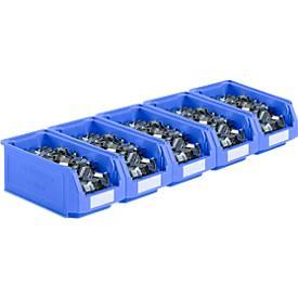 Open opbergbakken van de serie LF421 SSI Schäfer, stapelbaar, 7,8 l, 5 stuks, met verzonken handgreep, blauw, 7,8 l, 5 stuks.