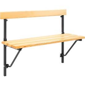 Opklapbare bank, hout, lengte 1200 mm, antraciet (RAL 7016)