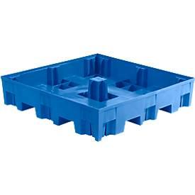 Opvangbak, PE, kan eronder gereden worden, voor 4 x 200 liter vaten, volume 285 liter, volume 285 L