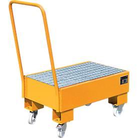 Opvangbakken, Type AW60-1 SR, verrijdbaar, oranje RAL2000