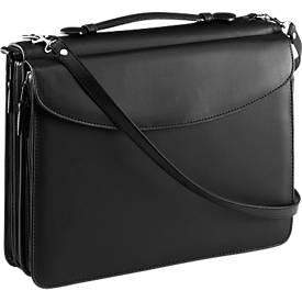 Orga-Tasche, DIN A4, aus Kunstleder, schwarz, inkl. Taschenrechner