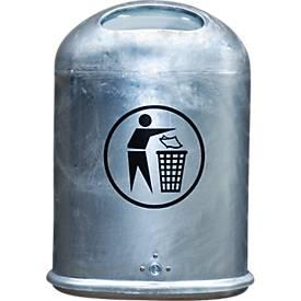 Ovaler Abfallbehälter aus Stahlblech mit selbstschließender Edelstahlklappe