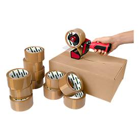 Packband CLIP mit Abroller, für sicheres Verschließen von Packstücken, 12 Rollen