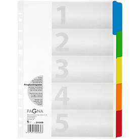 PAGNA Karton-Register, Zahlen 1-5, farbige Tabs