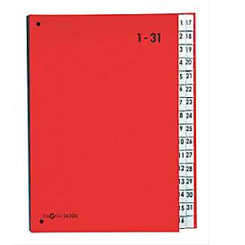 PAGNA Pultordner Color 1 - 31, auch für Überformate, numerisch 1-31, Polypropylen