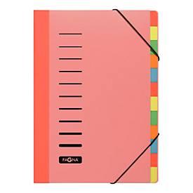 PAGNA Pultordner Color, für DIN A4, Polypropylen, 12 Fächer, rot