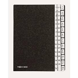 PAGNA Pultordner, für DIN A4, kalendarisch, 44 Fächer, Manilakarton