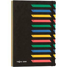 PAGNA Pultordner, für DIN A4, alphabetisch/numerisch, 12 oder 24 Fächer, Karton