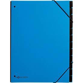 Pagna Pultordner Trend, für DIN A4, Karton, 12 Fächer, hellblau
