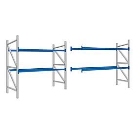 Palettenregal PR 350, Komplettregal 5,4 m, 1 Grund- und 1 Anbaufeld, 2 Ebenen, H 2500 x B 5400 x T 1050 mm, Traverse