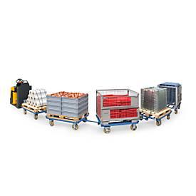 Palletonderstel, met wielen, roltakel voor vakwerkdozen en vlakke pallets, met wielen