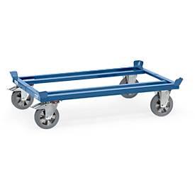 Palletonderstel, staal, tot 1200 kg, blauw, massief rubberen banden, met remmen, met rem.