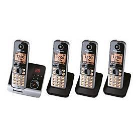 Panasonic KX-TG6724GB - Schnurlostelefon - Anrufbeantworter mit Rufnummernanzeige + 3 zusätzliche Handsets