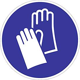 Panneau « Gants de protection obligatoires » sur film plastique