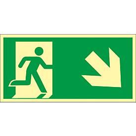 """Panneau """"Issue de secours"""", escalier vers le bas"""