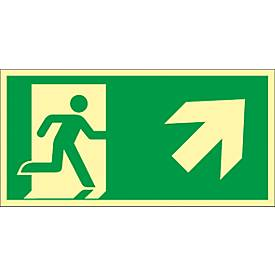 """Panneau """"Issue de secours"""", escalier vers le haut"""