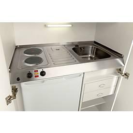 Pantry-Küche, Flügeltüren, Kochplatte, Spüle links, B 900 mm