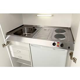 Pantry-Küche, Flügeltüren, Kochplatte, Spüle rechts, B 900 mm