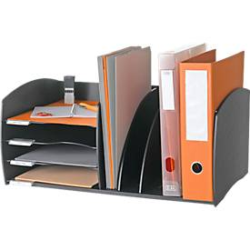 Paperflow desk organizer, 4 vakken, Verstelbare scheidingswanden, zwart