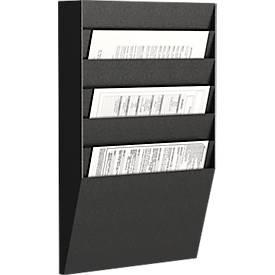 Paperflow Prospekt-Wandhalter A4 quer 6 Fächer, schwarz