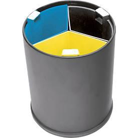 Papierafvalmand, voor afvalscheiding op tafel, 3 binnenbakken, zwart