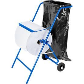 Papierrolhouder-wagen en afvalzakhouder, verrijdbaar