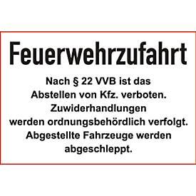 """Parkverbot-Schild """"Feuerwehrzufahrt"""" (Alu-Dibond)"""