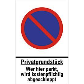 Parkverbot-Schilder, Privatgrundstück