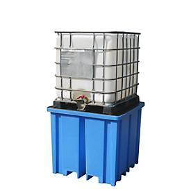 PE-Auffangwanne, für 1 IBC/KTC Tank oder bis zu 4 Fässer, 1100 l, 4-seitig unterfahrbar, abnehmbarer Rost, blau