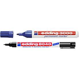 Permanent marker 3000, 20 stuks, zwart + GRATIS 1 stuk Wasmarker 8040