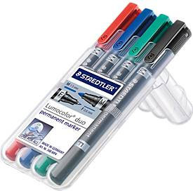 Permanent-Marker STAEDTLER Lumocolor duo, 4er-Set