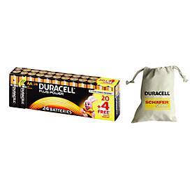 Piles DURACELL Plus Power, lot économique 20+4 pièces + sac de collecte des piles, gratuit