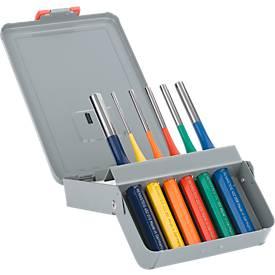 Pin pons set, 6 stuks, gekleurd gepoedercoat in een metalen vouwcassette.
