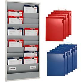 Planungstafel SET mit 10 Schuppenschienen, 10 rote + 10 blaue Taschen