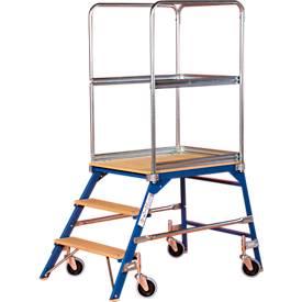 Podestleiter, frei rollbar, einseitig, Stufen Buche