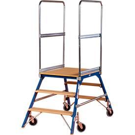 Podestleiter, frei rollbar, zweiseitig, Stufen Buche